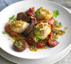 Pan-fried scallops & chorizo with parsley salad recipe - Recipes - BBC Good Food Tapas Recipes, Bbc Good Food Recipes, Seafood Recipes, Appetizer Recipes, Shellfish Recipes, Seafood Dishes, Appetizers, Yummy Food, Scallops And Chorizo