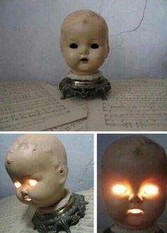 Idea for you crafty types: turn an old doll head into a night light for your kids. Super cute!