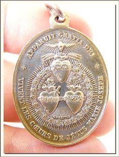 ANTIQUE 1880's FRENCH THREE SACRED HEARTS JESUS MARY JOSEPH MEDAL SIGNED TASSET
