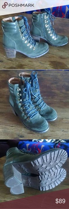 """Lucky Brand Sturdy Lace Up Booties Awesome rugged boots with sturdy soles. Deep olive green w navy laces. Lucky Brand Size 9 / 39 Leather upper. Lace up + side zip for easy on/off  Stacked heel is 3""""  Really comfortable & cool. They look good with everything. Great preowned condition. Minor scuffs and wear. Clean interior and soles. Tags timberland, hiking, lug sole, rubber, block heel Lucky Brand Shoes Ankle Boots & Booties"""
