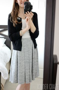 """Dear Stitch Fix Stylist, I love this skirt! It has the right mixture of casual (with the color and fabric """"pattern"""") and dressy (pleats!). I can see myself pairing this skirt with quite a few tops in my closet. Please include this in my next fix! Thanks! Laura"""