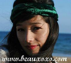 Velvet Turban Headband Turband Headband Bottle Green by beauxoxo, £7.00
