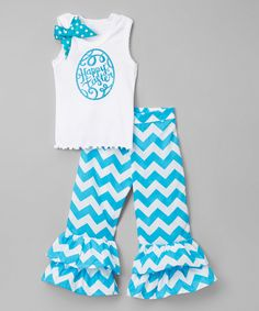Loving this White Egg Tank & Turquoise Ruffle Pants - Infant, Toddler & Girls on #zulily! #zulilyfinds