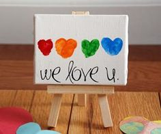 Fingerprint Hearts on a mini Canvas and Art Easel (Jo-Ann's). Message is made from Rub-on Letters. So cute for a Mother's Day or Father's Day or for grandparents! - Do this same idea on paper and send it to your sponsored kids! Mothers Day Crafts For Kids, Fathers Day Crafts, Easy Crafts For Kids, Valentine Day Crafts, Holiday Crafts, Holiday Fun, Art For Kids, Valentines, Family Holiday