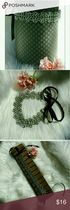 """RESTOCKED!  Not Your Ordinary Choker European Medieval chainmaille weave with rosette pattern edging. Silver metal ring weave is 10 """" in length and 1"""" wide. Black ribbon adds an additional 11 """" each side for you to cut to a length that suits your needs when tied in a bow in the back. Designed to fit anyone perfectly. Jewelry Necklaces"""