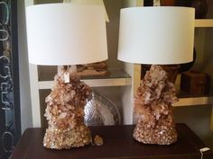 ROCK CRYSTAL LAMPS. Pricey. Entry Hall Table, Crystal Lamps, Lighting Design, Table Lamp, Rock, Crystals, French, Eye, Decor