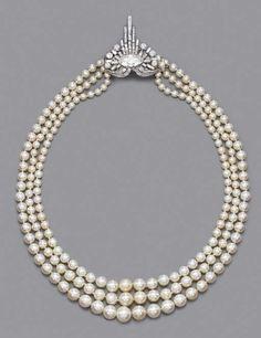 Rare Art Deco Pearl And Diamond Necklace   c.1925