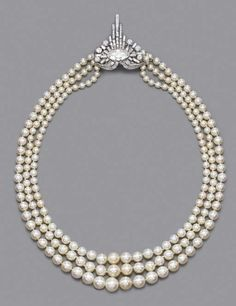 I so love pearls for their simplicity. Rare Art Deco Pearl And Diamond Necklace   c.1925