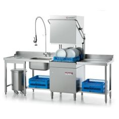 Full Dishwashing system with soiled and cleaned dishtables, sink, prerinse hose and door type dishwasher Restaurant Kitchen Design, Bakery Kitchen, Cafe Restaurant, Restaurant Ideas, Commercial Kitchen Design, Commercial Kitchen Equipment, Commercial Dishwasher, Compact Kitchen, Stainless Steel Kitchen