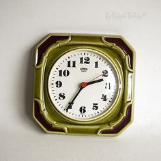 Vintage #1960s/70s retro green emes #ceramic west #german wall clock - free uk p&,  View more on the LINK: http://www.zeppy.io/product/gb/2/331794690665/