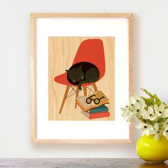 This will be going on my gallery wall! Purr Print on Wood   dotandbo.com   #DotandBoHoliday