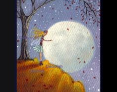 The Blue Corn Moon And Friend  A tiny  Fairy Moon PRINT