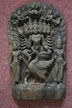 Wooden Sculpture of Kartikeya, circa century, housed at Government Museum and Art Gallery, Chandigarh Indian Temple Architecture, Art And Architecture, Indian Gods, Indian Art, Asian Sculptures, Lord Vishnu Wallpapers, Lord Murugan, Hindu Art, Still Life Art