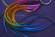 Feather Hair Extension Kit Raspberry Orange Blue 8