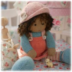 Little eBook Shop Knitting Dolls Free Patterns, Knitted Dolls Free, Crochet Dolls, Knitted Hats, Yarn Dolls, Knitted Flower Pattern, Crochet Flower, Little Cotton Rabbits, Knitted Animals