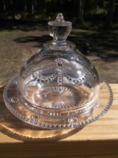 "EAPG ""Floral Drape Pendant Dot"" Flint Glass Butter/Cheese dome & plate, x Butter Cheese, Butter Dish, Flint Glass, Historic New England, Cheese Dome, Everyday Dishes, Cheese Dishes, Early American, Clear Glass"