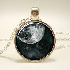 Full Moon Necklace Cosmic Space Jewelry Galaxy Pendant by rainnua, $14.45