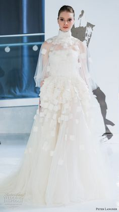 peter langner spring 2018 bridal high neck illusion capelet straight across neckline heavily embellished bodice romantic ball gown wedding dress chapel train (17) mv -- Peter Langner Spring 2018 Wedding Dresses