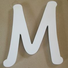 Letter M Wall Decor single letter s, white, wood, wall décor, mantel décor, 9 inches