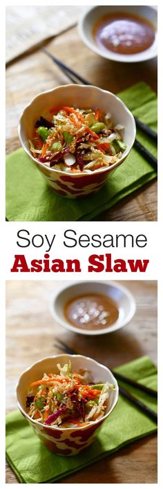 Asian Slaw with Soy Sesame Dressing - easy, healthy Asian slaw with AMAZING dressing that you can't stop eating | rasamalaysia.com