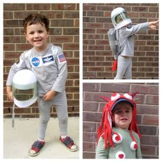 Astronaut and scary monster (despite crying this is exactly what he asked for in his costume)