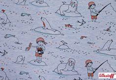 Fabric for Kids – Organic Cotton Jersey 'Piratenwelt' pirate – a unique product by toddlin-town-fabrics on DaWanda