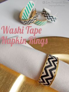 Washi Tape Napkin Rings (or bracelets) out of craft sticks