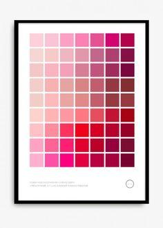 Med inspirasjon fra et fargekart gir denne posteren et kreativt fargestikk. Teksten nederst til venstre er forskjellige ord og følelser knyttet til de forskjellige fargene. 50 x 70 cm. De