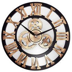 Horloge murale dorée style vintage avec chiffres romains Or Noir, Style Vintage, Decoration, Steampunk, Sweet Home, Wall, Clocks, Cricut, Design