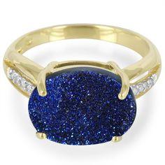 Bague en or et Quartz Etincelant bleu cobalt 3656XH   Juwelo Bijouterie