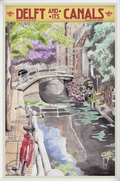 Travelposter of the city of Delft, the Netherlands - Canals -