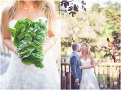 We like this photo because its creatively FUN and not to mention digestible ツ . Lettuce bouquet at a zoo themed wedding // Santa Barbara Zoo \\ Sun & Sparrow Photography #zoowedding #ecobride #ecoconscious