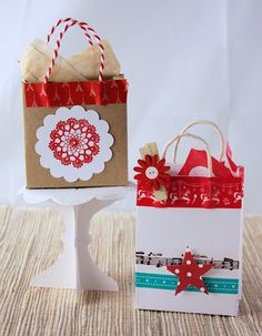 How to make gift bags: Small Pieces of Scrap booking Paper or Card+Japanese Masking Tape and Twine  =Sweet Gift Bag