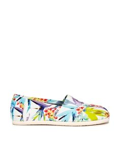Toms White Birds of Paradise Flat Shoes