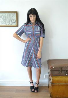 Vintage 60s 70s Rainbow Stripe Zip Up Dress 14 16 DRS481