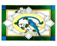 """Bluebird Art Glass Panel Wall Window Hanging Suncatcher 14 x 20 by Keegan's Korner. $61.95. **  ** SHIPS UPS - Order BY DECEMBER 13 for CHRISTMAS DELIVERY **  **; Hooks are included for immediate placement; 14""""H x 20.5""""W; Ships within 5 business days; Painted Glass, Made in the USA!!. Like no other product, art glass delivers high visual impact! The rich, vibrant look of stained glass enhances every decor - whether a room is casual or traditional, Victorian or shabby chic!..."""