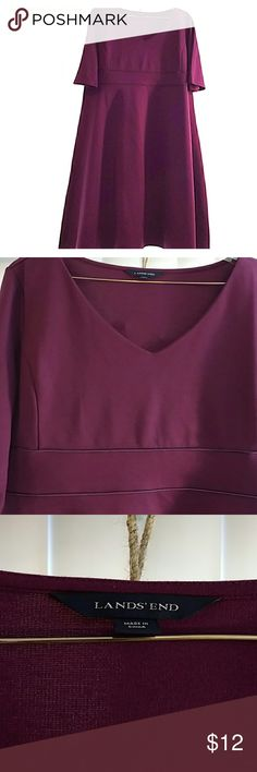 Gorgeous Lands End Dress, Plum, 14W Plum 3/4 sleeve Lands End 14 wide dress just above ankle length with flattering piping and boning shown.  Machine Washable and dryable. Very soft, comfortable brushed polyester / viskose blend. Lands' End Dresses