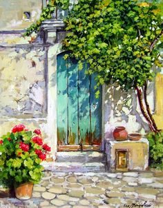 Wood Door - Calabria Italy Painting by Francesco Mangialardi Landscape Art, Landscape Paintings, Italy Painting, House Painting, Acrylic Art, Beautiful Paintings, Painting Techniques, Painting Inspiration, Painting & Drawing