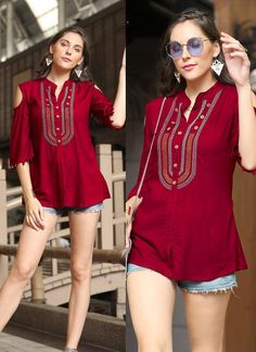 We are the manufacturer and exporter of indian ethnic wear. The one stop shop for wholesale purchasing. Latest Top Designs, Latest Tops For Girls, Mode Outfits, Fashion Outfits, Western Tops, Matches Fashion, Fancy, Short Tops, How To Look Classy