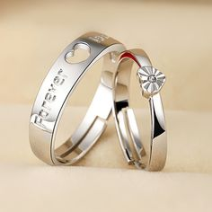 Sterling Silver Forever Love and Heart Couple Promise Rings
