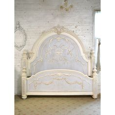 Painted Cottage Chic Shabby Romantic Bed King 3000 ($2,395) ❤ liked on Polyvore featuring home, furniture, beds, bedroom furniture, beds & headboards, home & living, silver, foot bed, king size headboard and white head board