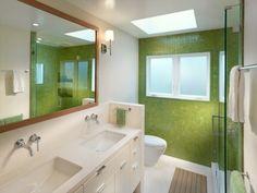 built in sink cabinet, cedar mat in floor, tile wall, modesty wall; german ? toilet, glass shower
