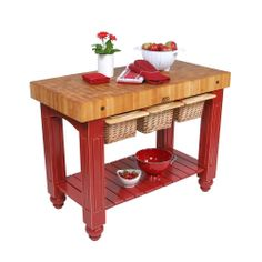 John Boos CU-GB4824-BN Barn Red Hard Maple Gathering Block Table (48x24) with Bonus Cutting Board | Overstock.com Shopping - Big Discounts o... ****CAN MAKE THIS!!!***