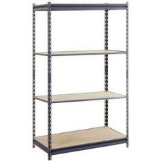 D 4 Shelf Steel Commercial Shelving Unit In Gray. Basement StorageStorage  RoomStorage OrganizationStorage IdeasOrganizingSteel ...