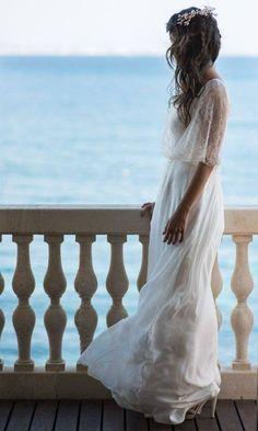 Boho wedding dress, lace sleeves on wedding dress, vintage vibe.