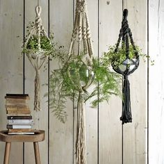 macrame hanging plant pot holders, graham and green