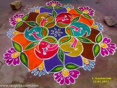 Freehand design kolam with supper colour combination on 2015 done by gajalakshmi