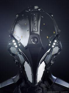 No information given. Robotic head helmet special-ops black futuristic.