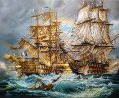 BATTLE of TRAFALGAR original oil painting on canvas sea panorama of naval history HMS Victory and Redoutable tall ships classical modern art Old Sailing Ships, Sailing Boat, Hms Victory, Ship Paintings, Naval History, My Art Studio, Tall Ships, Ship Art, Oil Painting On Canvas