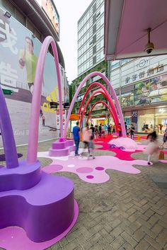 Paint Drop is a creative public space intervention designed to create a visual link between the main plaza and a newly open retail space, to firstly. Kids Play Equipment, Floor Graphics, Paint Drop, Play Spaces, Urban Furniture, Environmental Design, Experiential, Branding, Public Art